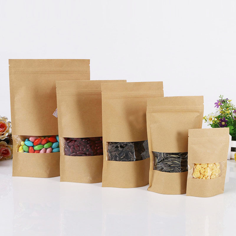 10pcs-4-size-Paper-Gift-Bag-For-Tea-Powder-Nut-Food-Cookie-Packaging-Zip-Lock-Bags