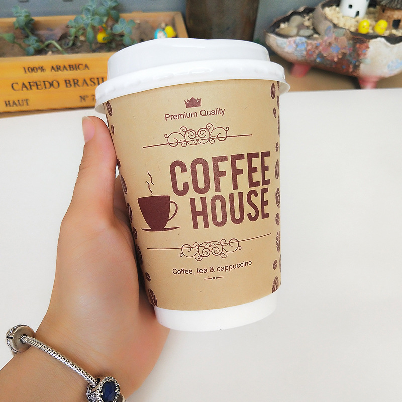 50pcs-Disposable-coffee-cup-9OZ-Kraft-Paper-Milk-Tea-Packaging-Cups-Beverage-Takeaway-Packages-Thicken-Hollow